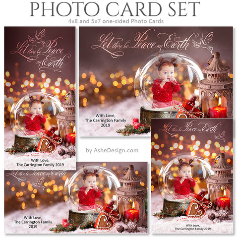 Christmas Photo Card Set - Snow Globe Silent Night