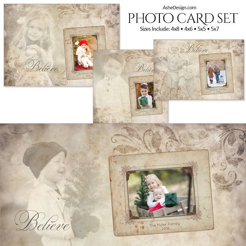 Christmas Photo Card Set - Subtle Focus Believe