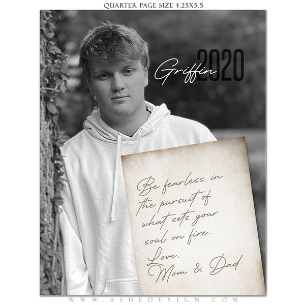 Ashe Design | Senior Yearbook Ad | Photoshop Templates | Quarter Page