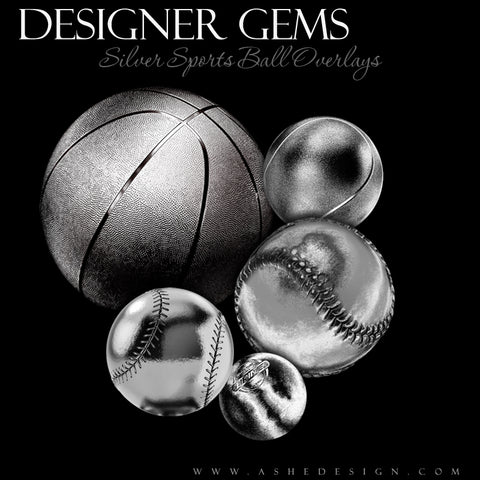 Ashe Design Designer Gems Silver Sports Balls Overlays Set 2
