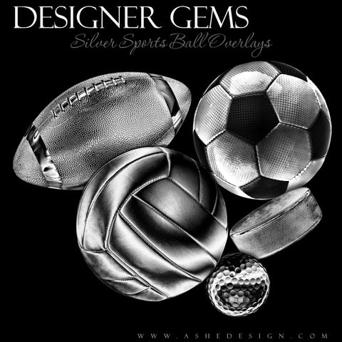 Ashe Design Designer Gems Silver Sports Balls Overlays Set 1