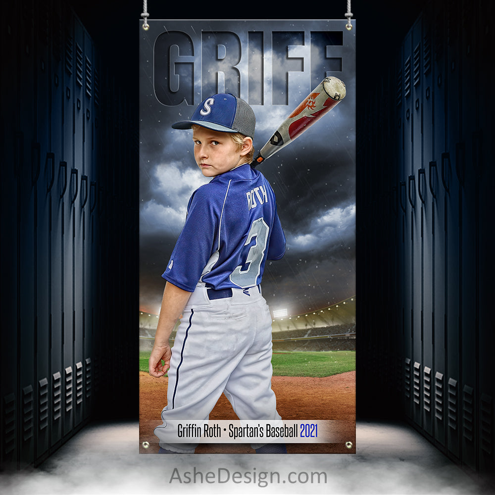 3x6 Amped Sports Banner - Stormy Lights Baseball