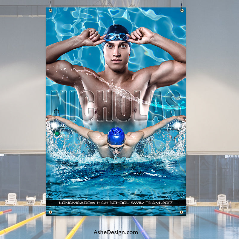 Amped Sports Banner 2'x3' - Cool Water Swimming