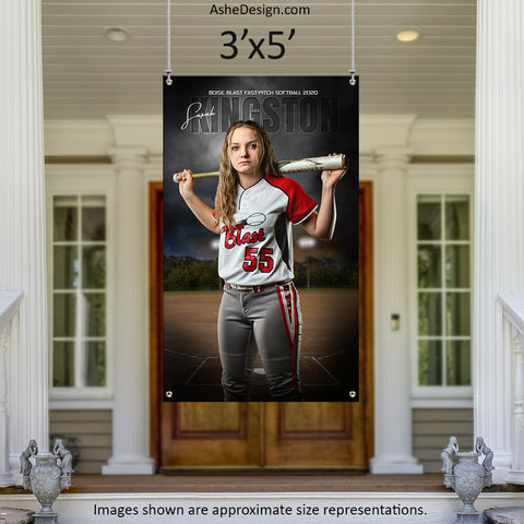3x5 Amped Sports Banner - In The Shadows Softball