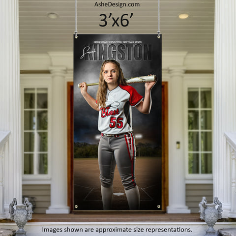 3x6 Amped Sports Banner - In The Shadows Softball