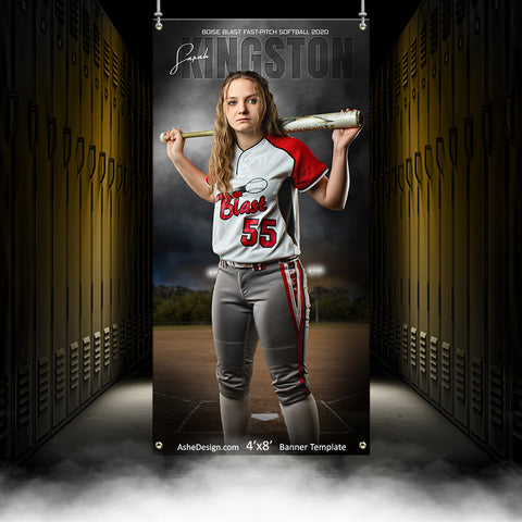 4x8 Amped Sports Banner - In The Shadows Softball