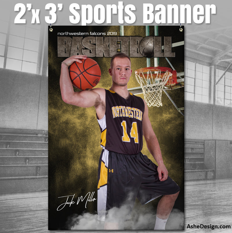 2x3 Amped Sports Banner - Rocked Basketball