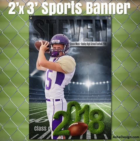 Ashe Design 2x3 Amped Sports Banner Photoshop Templates | Stormy Lights Football