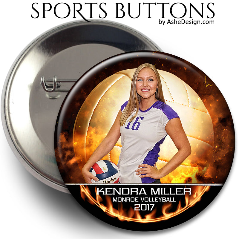Sports Button - Backdraft Volleyball