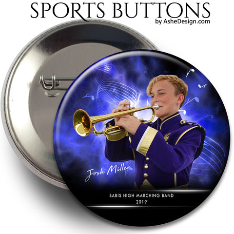 Ashe Design Sports Buttons - Electric Explosion Marching Band