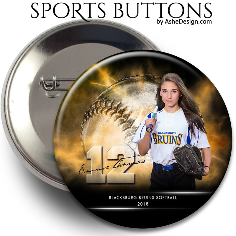 Sports Button - Electric Explosion Softball