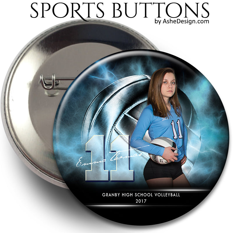 Sports Button - Electric Explosion Volleyball