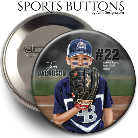 Ashe Design Sports Buttons - In The Shadows Baseball