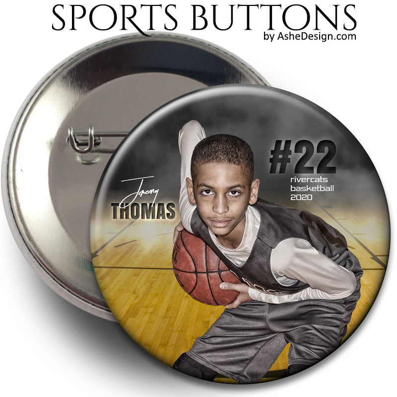 Ashe Design Sports Buttons - In The Shadows Basketball