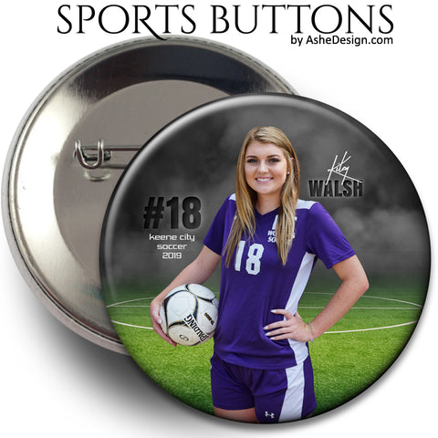 Ashe Design Sports Buttons - In The Shadows Soccer
