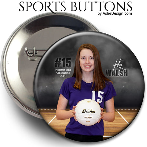 Ashe Design Sports Buttons - In The Shadows Volleyball