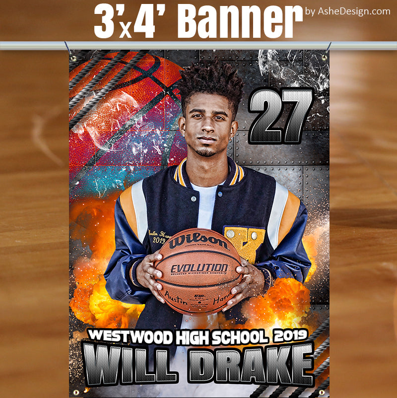 Ashe Design Stadium Sports Banner Basketball