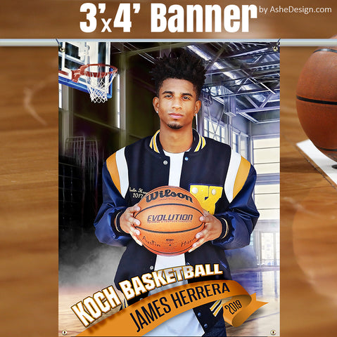 3'x4' Amped Sports Banner - Half Court Basketball