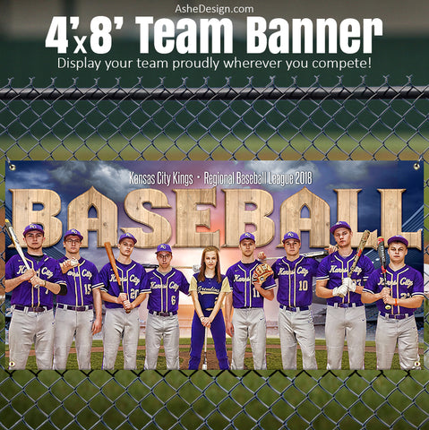 Ashe Design 4'x8' Team Banner - Play Ball