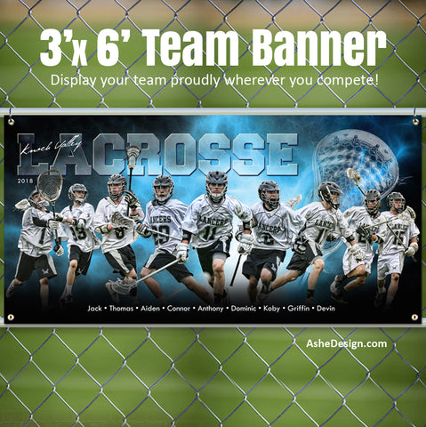 Ashe Design 3x6 Sports Banner - Electric Explosion Lacrosse