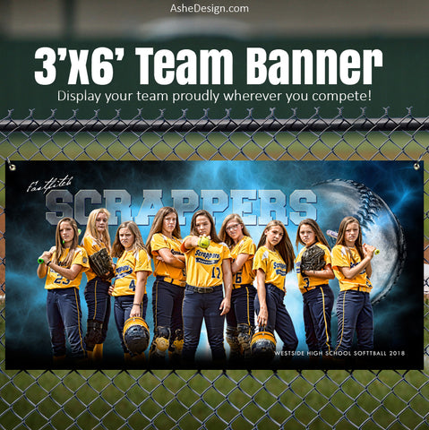 Ashe Design 3x6 Sports Banner - Electric Explosion Softball