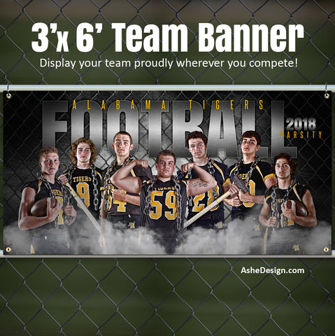 Amped Sports Team Banner 3'x6' - Gridiron