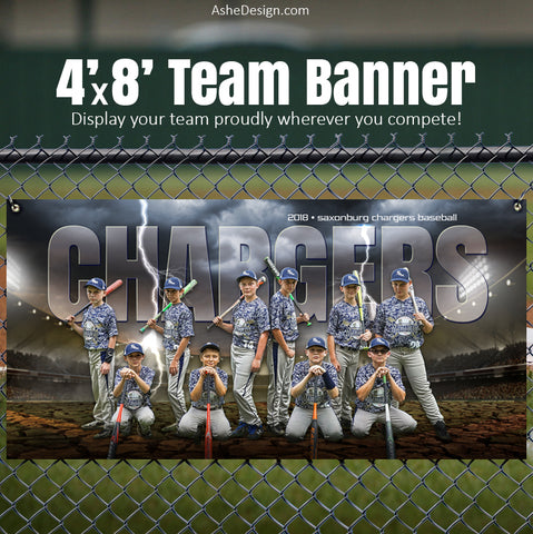Ashe Design 4'x8' Team Banner - Breaking Ground Baseball - Softball