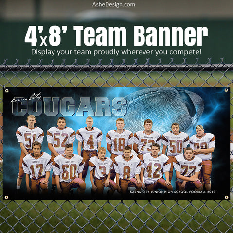 Amped Sports Banner 8'x4' - Electric Explosion Football