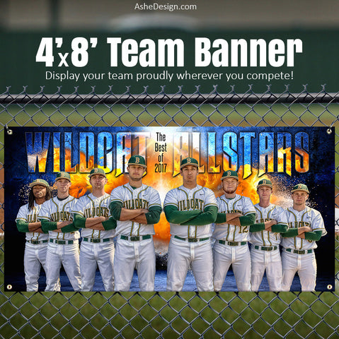 Ashe Design 4'x8' Team Banner Photoshop Template Fireball Explosion