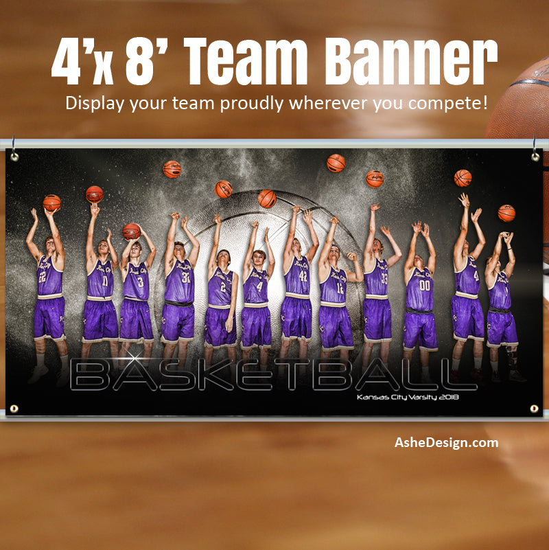 Ashe Design 4'x8' Team Banner - Platinum Burst - Basketball