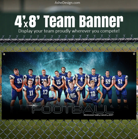 Ashe Design 4x8 Sports Team Banner - Platinum Burst Football