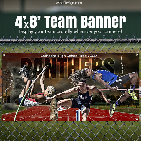 Track & Field Team Sports Banner 4x8