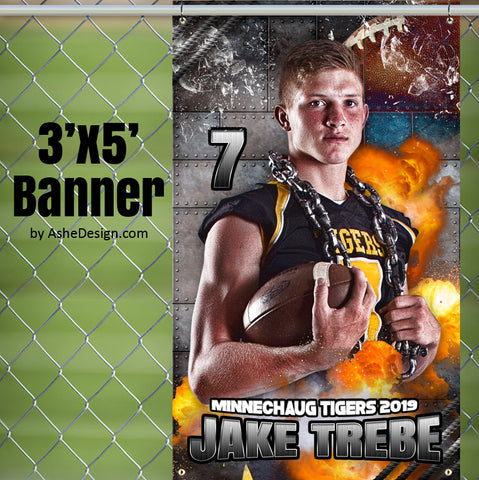 Ashe Design 3x5 Amped Sports Banner - Molten Football