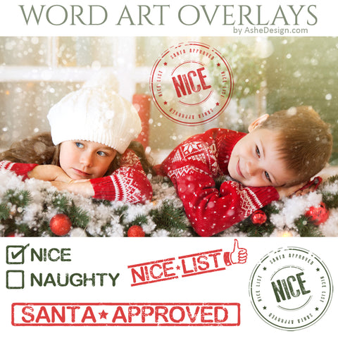 Ashe Design Word Art Overlays - Santa's Nice List