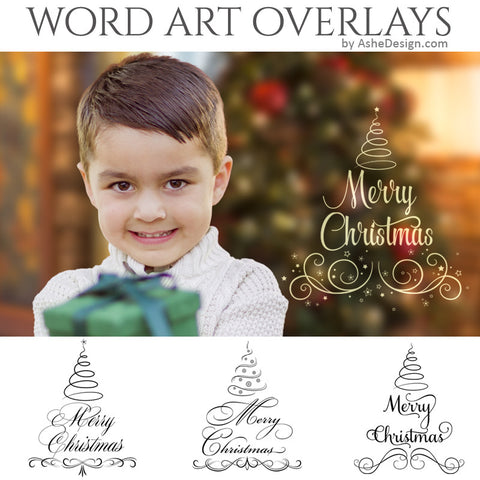 Christmas Word Art Set - Swirly Christmas Trees