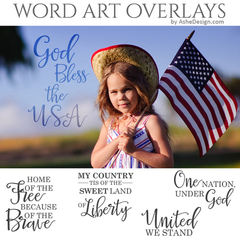 Ashe Design Word Art Overlays - United We Stand