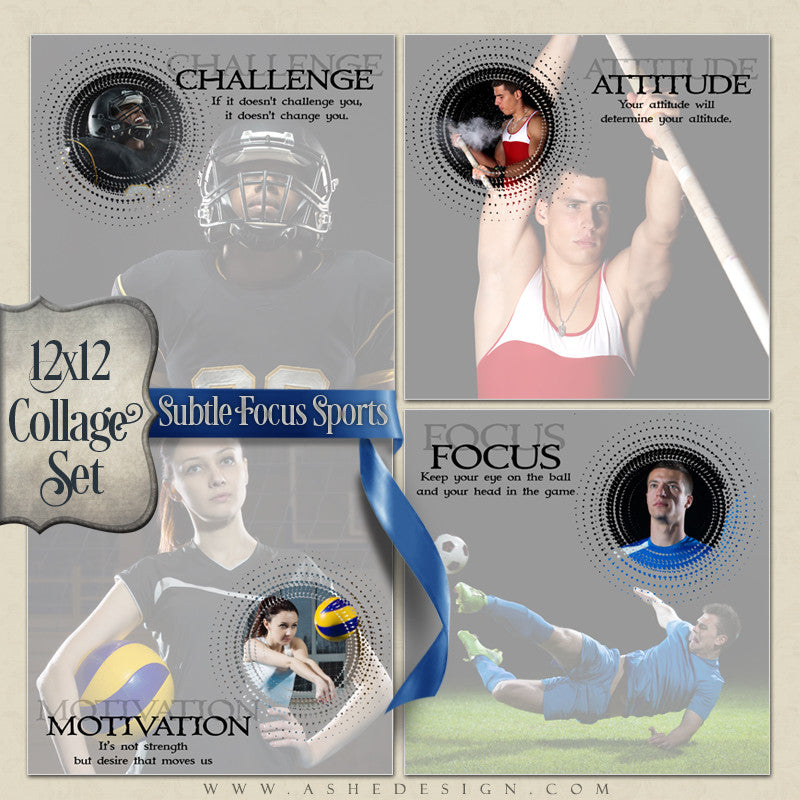 Collage Set (4) 12x12s - Subtle Focus Sports