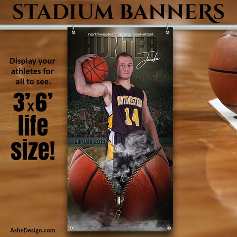 Amped Stadium Banner 3'x6' - Unzipped Basketball