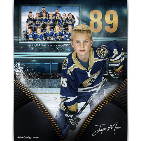 Sports Memory Mates 8x10 - Unzipped Hockey