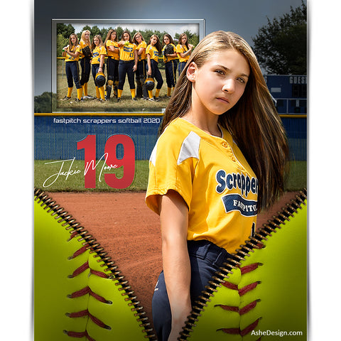 Sports Memory Mates 8x10 - Unzipped Softball