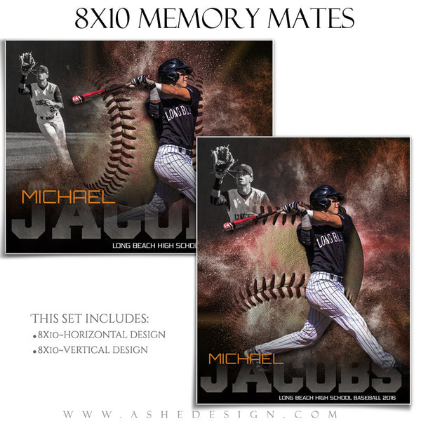 Sports Memory Mates 8x10 - Powder Explosion Baseball