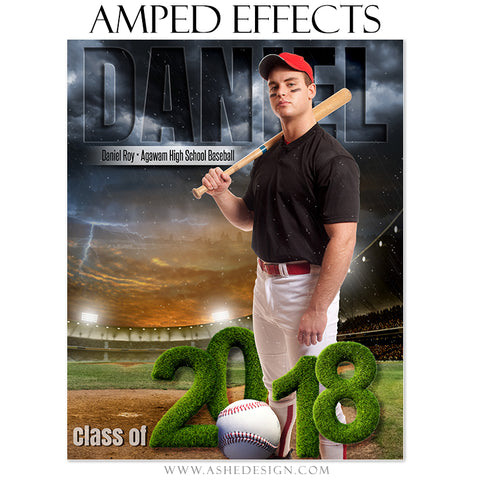 Ashe Design 16x20 Amped Effects Sports Poster - Stormy Lights Baseball