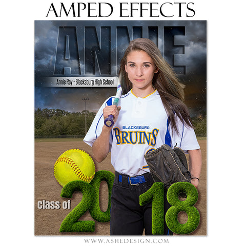 Ashe Design 16x20 Amped Effects Sports Poster - Stormy Lights Softball
