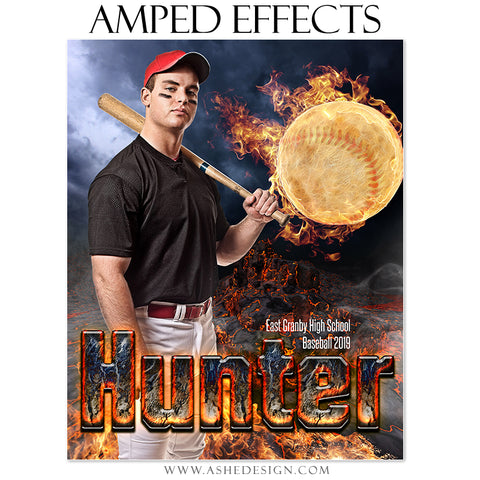 Ashe Design Amped Effects Sports Poster - Fire Ball Baseball