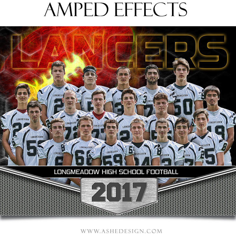Ashe Design 16x20 Sports Poster Photoshop Template Great Balls of Fire Football Team