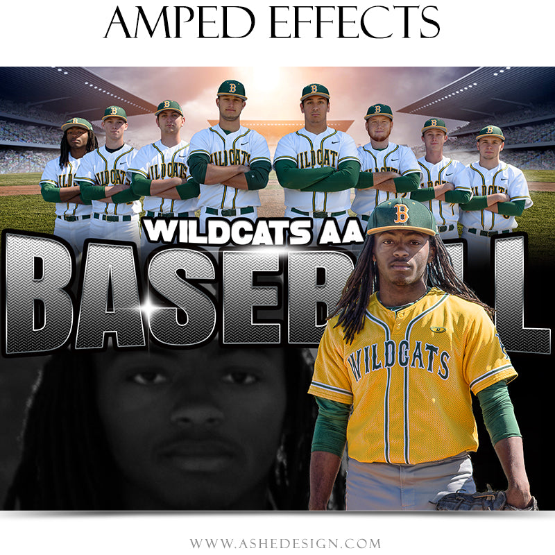 Ashe Design 16x20 Amped Effects Sports Poster - Halftime Baseball