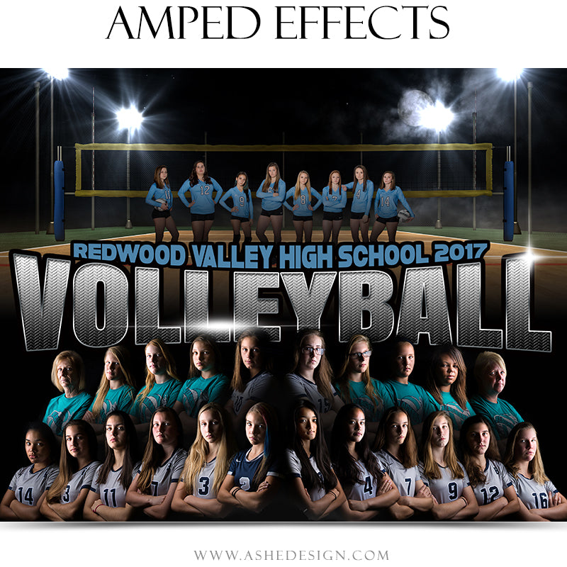 Ashe Design 16x20 Amped Effects Sports Poster - Halftime Volleyball