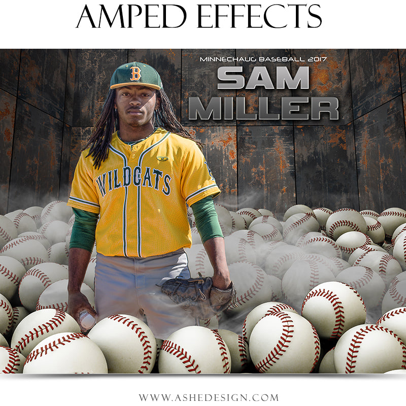 Ashe Design 16x20 Amped Effects Sports Poster - Pile Up Baseball