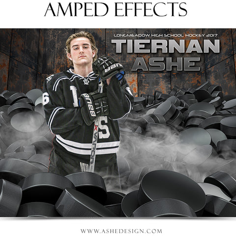 Ashe Design 16x20 Amped Effects Sports Poster - Pile Up Hockey