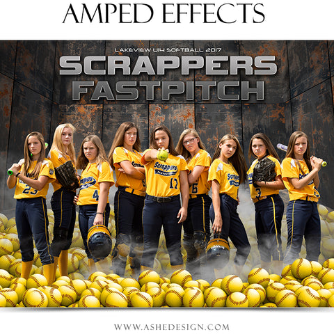 Ashe Design 16x20 Amped Effects Sports Poster - Pile Up Softball